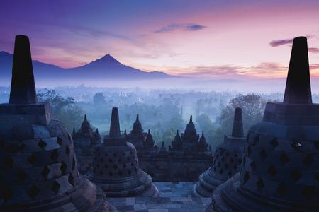 religion ritual: Borobudur Temple is sunrise, Yogyakarta, Java, Indonesia. Stock Photo