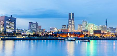 Panorama Twilight view of Yokohama bay in japan