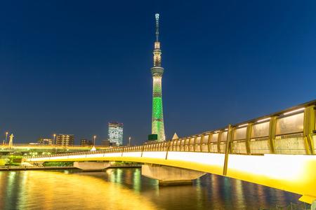 Tokyo skytree illumination and bridge at twilight Japan. Editorial