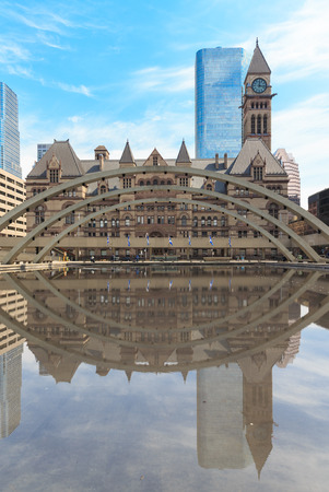 Old city hall of Toronto in gothic style under the sunset. photo