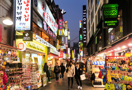 SEOUL - NOVEMBER 5: Myeong-Dong Neon Lights November 5, 2013 in Seoul, South Korea. The location is the premiere district for shopping in the city.