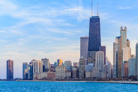 Chicago skyline. Chicago downtown skyline at dusk. 스톡 콘텐츠