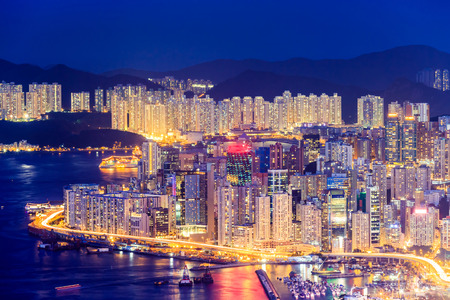 Hong Kong skyline at night from Victoria Peak. Stock Photo