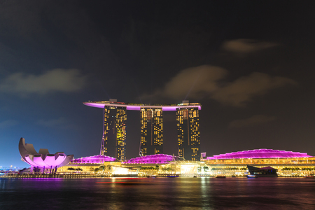 marina bay sand: SINGAPORE - FEBRUARY 12 : Nightscape of Singapore Marina Bay Sand on Feb 12, 2014, Singapore. Marina Bay Sands is billed as the world Editorial