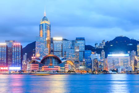 빅토리아 항구에서 홍콩 스카이 라인. 스톡 콘텐츠