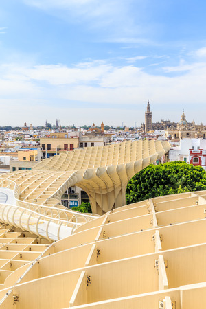 polyurethane: SEVILLA,SPAIN -JUNE 05 : Metropol Parasol in Plaza de la Encarnacion on June 05, 2014 in Sevilla, Spain. J. Mayer H. architects, it is made from bonded timber with a polyurethane coating.