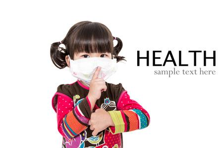 running nose: Illness child,Sick child on white background.