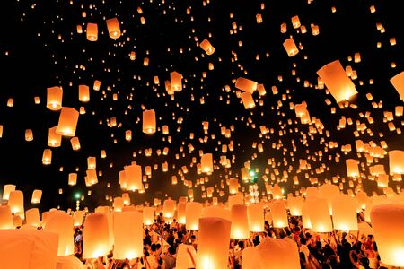 thailand symbol: Yeepeng Firework Festival in Chiangmai, Thailand