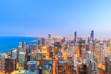 aerial city: Chicago skyline aerial view over Lake Michigan. Stock Photo