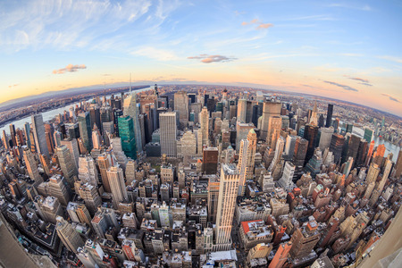 Aerial view of New York skyscrapers at sunset Imagens