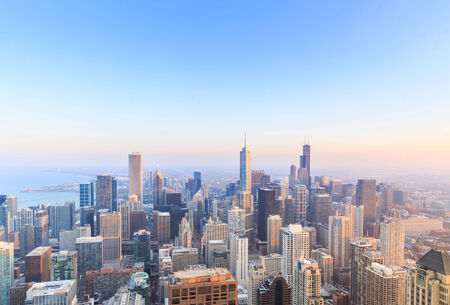 chicago city: Chicago skyline aerial view over Lake Michigan. Stock Photo