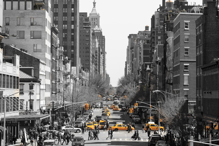 NEW YORK CITY, NY - April 7: Busy traffic on street on Apr 7, 2014 in New York City.rush hour with cabs and melting pot people crossing the street. 報道画像