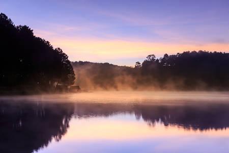 thialand: Beautiful foggy sunrise on a lake,Mae Hong Son,Thialand.
