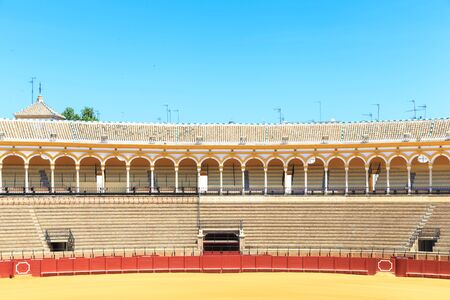 toros: SEVILLE, SPAIN - JUNE 5: Plaza de toros de la Real Maestranza de Caballeria de Sevilla on June 5, 2014, Spain. Also called Plaza de Toros of Seville, it is the oldest spanish bullring