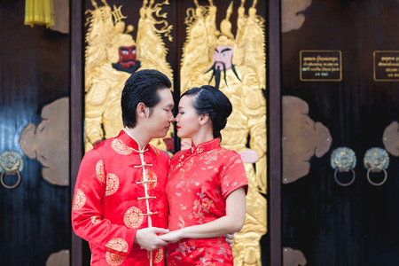 asian bride: wedding couple Chinese motion in love