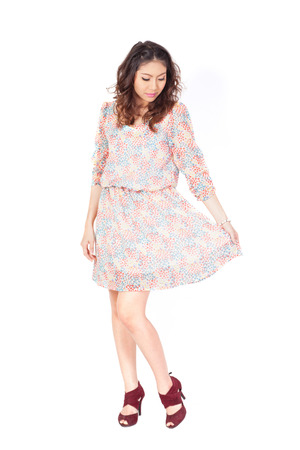 girlie: The happy girl with dress, a white background