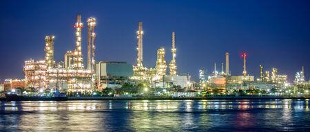 petrochemical: panorama petrochemical industry night scene Editorial