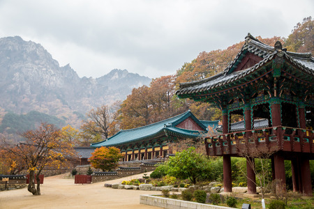 The building of Buddhist Sinheungsa Temple in Seoraksan National Park, South korea