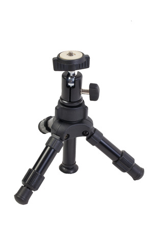 tiny lenses: mini tripod isolated on the white background