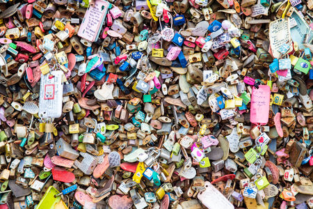 master key: SEOUL,SOUTH KOREA - NOVEMBER 6: Plenty of master key were locked along the wall on November 6, 2013 at Seoul tower. People believe that the locked key will keep their forever love.