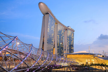 standalone: The Marina Bay Sands Resort Hotel on Fab 13, 2014 in Singapore. Marina Bay Sands is an integrated resort and billed as the worlds most expensive standalone casino property.