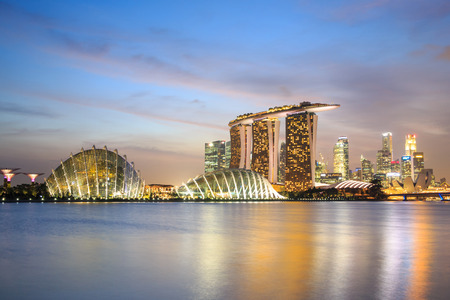Singapore city skyline at sunset scene