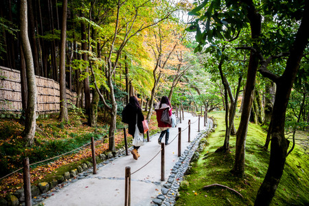 japanese gardens: Stairway in japanese gardens of Ginkakuji, the silver pavilion.