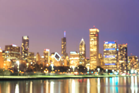 the sears tower: Chicago Skyline at Night- Blurred Photo bokeh