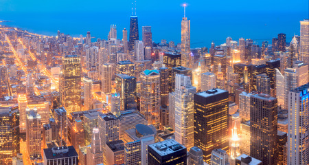 Chicago skyline panorama in twilight scene