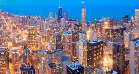 Chicago skyline panorama in twilight scene