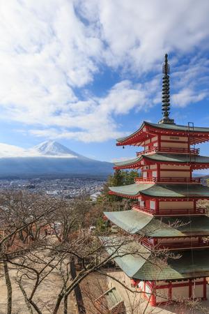viewed from behind: Mt. Fuji viewed from behind Chureito Pagoda, Japan.