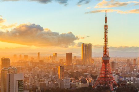 Tokyo city skyline at sunset in Tokyo, Japan.
