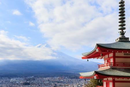 viewed from behind: Closoe up Mt. Fuji viewed from behind Chureito Pagoda,Japan.
