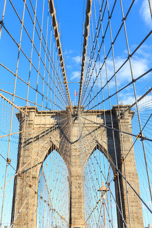 man made structure: Brooklyn Bridge in New York City, USA.