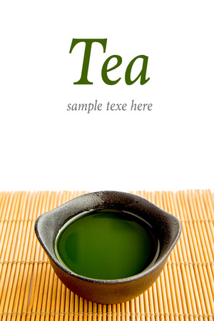 Green tea on bamboo mat