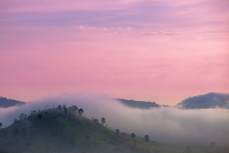 romantic picture: Romantic picture,Pink sky top mountain Stock Photo