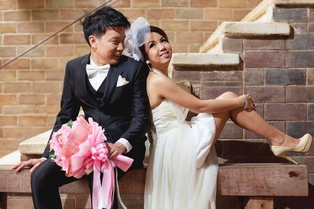 wed beauty: bride and groom couple wedding in love Stock Photo