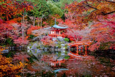 japan sunset: Daigo-ji is a Shingon Buddhist temple in Fushimi-ku, Kyoto, Japan.