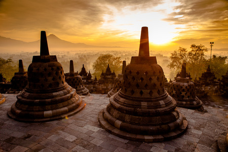Borobudur temple at sunrise in Yogyakarta, Indonesia