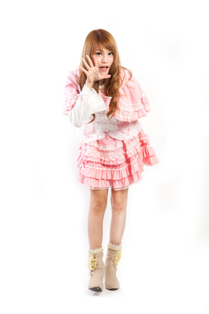 lolita: Cosplay of lolita on the white backgound. Stock Photo