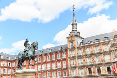 mayor: Plaza Mayor in Madrid city , Spain Stock Photo