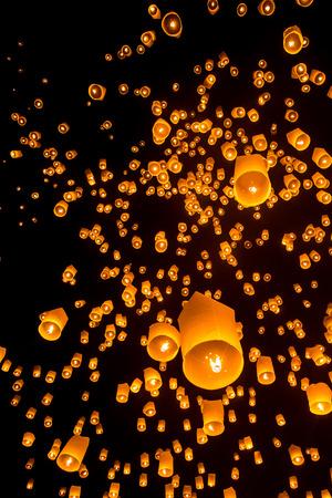 Yeepeng Firework Festival in Chiangmai, Thailand.
