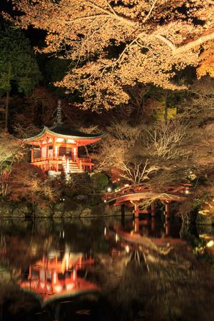 Iluminado Hojas de otoño en el templo de Daigo-ji. Foto de archivo - 35892422