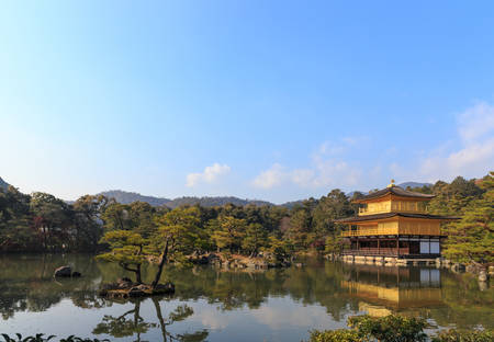 rokuonji: Kinkakuji Temple (The Golden Pavilion) in Kyoto, Japan Stock Photo