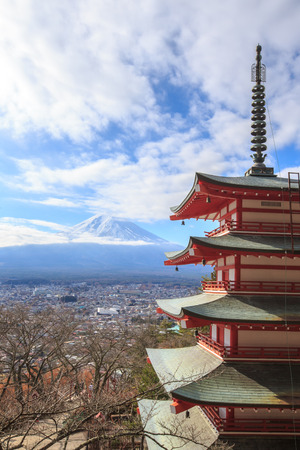 seaonal: Mt. Fuji with Chureito Pagoda in japan.