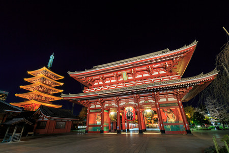 Sensoji-ji Red Japanese Temple in Asakusa, Tokyo, Japan Standard-Bild