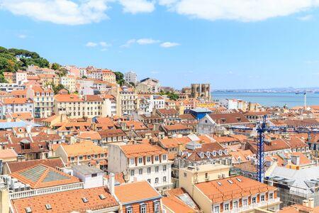 baixa: View over old town lisbon and Castelo de Sao Jorge