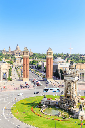 espanya: Aerial View on Placa Espanya and Montjuic Hill with National Art Museum of Catalonia, Barcelona, Spain Editorial