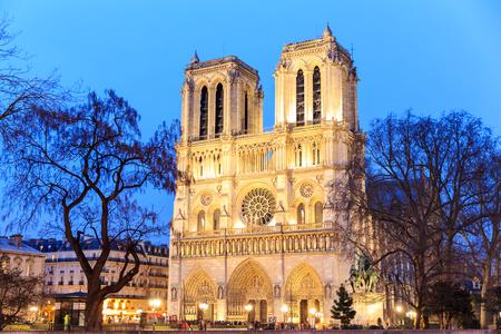 paris night: Cathedral of Notre dame de Paris, France.