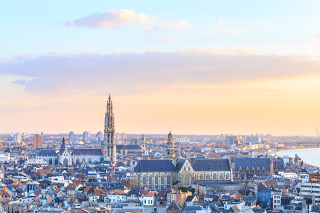antwerp: View over Antwerp with cathedral of our lady taken, Belgium